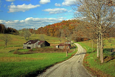 Poster featuring the photograph A Farm On An Autumn Day by Angela Murdock
