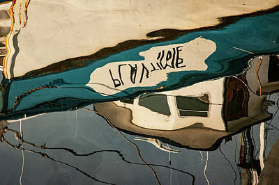 Poster featuring the photograph Abstract Boat Reflection Vi Color by David Gordon