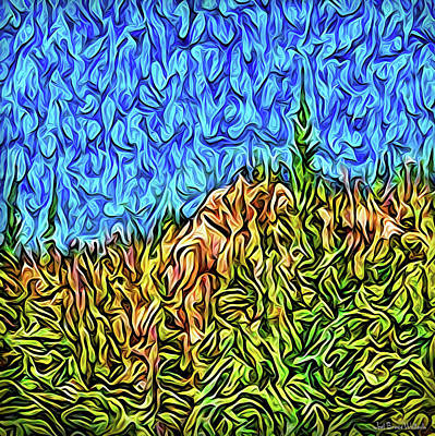 Poster featuring the digital art Abstract Mountain Radiance by Joel Bruce Wallach