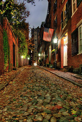 Poster featuring the photograph Acorn Street At Night - Boston by Joann Vitali
