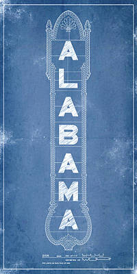 Poster featuring the digital art Alabama Theatre Marquee Blueprint by Mark E Tisdale