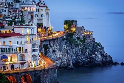 Amalfi Coast Italy Nightlife Poster