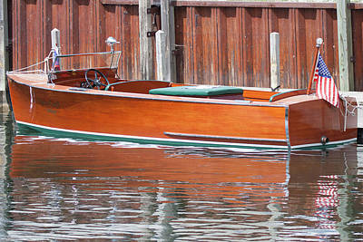 Antique Wooden Boat By Dock 1302 Poster