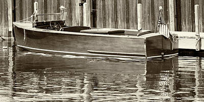 Antique Wooden Boat By Dock Sepia Tone 1302tn Poster