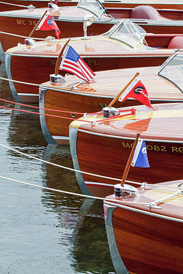 Antique Wooden Boats In A Row Portrait 1301 Poster