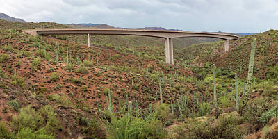 Poster featuring the photograph Arizona Highway Bridge Panoramic View by James BO Insogna