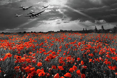 Poster featuring the photograph At The Going Down Of The Sun Selective Red Version by Gary Eason