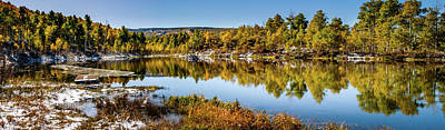 Poster featuring the photograph Autumn At Ivie Pond Panoramic by TL Mair
