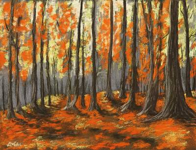 Poster featuring the painting Autumn Forest by Anastasiya Malakhova