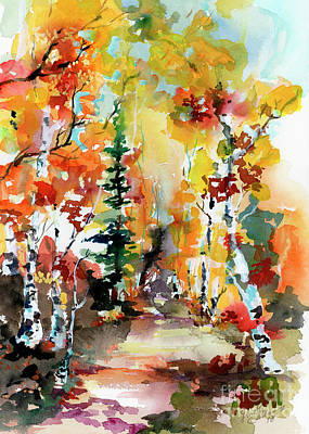 Poster featuring the painting Autumn Forest Symphony Watercolors by Ginette Callaway