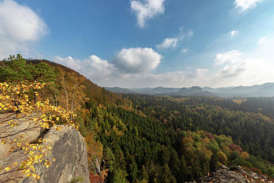 Poster featuring the photograph Autumn In The Elbe Sandstone Mountains by Andreas Levi