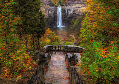 Poster featuring the painting Autumn Morning At Taughannock Falls by Dan Sproul