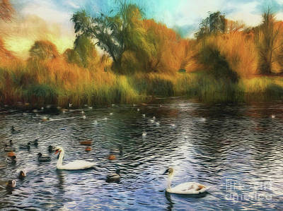 Poster featuring the photograph Autumn On The Lake by Leigh Kemp
