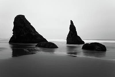 Poster featuring the photograph Bandon Beach Oregon Bw by Rospotte Photography