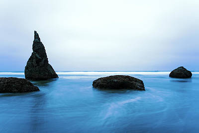 Poster featuring the photograph Bandon By The Sea Aqua Blue by Rospotte Photography