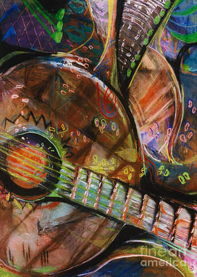 Poster featuring the pastel Banjos Jamming by Donna Hall