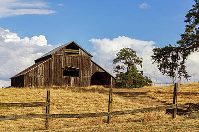 Barn With Fence In Foreground Poster
