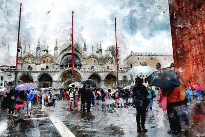 Basilica Of Saint Mark In Venice With Watercolor Look Poster
