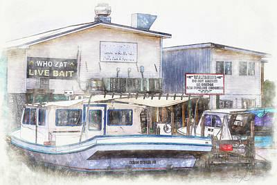 Poster featuring the digital art Bayou Restaurant by Barry Jones