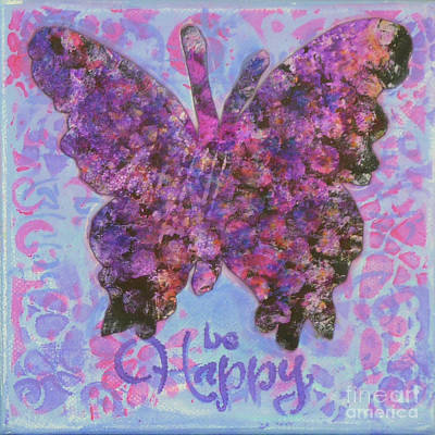 Be Happy 2 Butterfly Poster