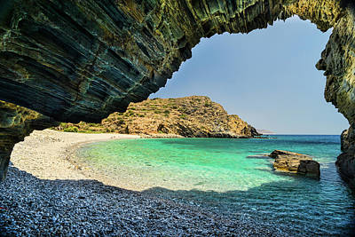 Almiro Beach With Cave Poster