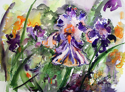 Poster featuring the painting Bearded Iris Splendor Watercolor by Ginette Callaway