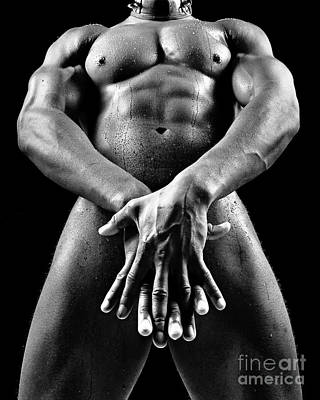 Beautiful Man Nude Or Naked With Great Sexy Body. Image In Black And White Poster