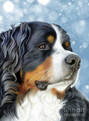Poster featuring the mixed media Bernese Arctic Blue by Donna Mulley