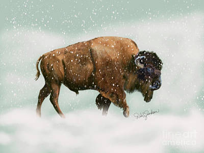 Bison In Snow Storm Poster