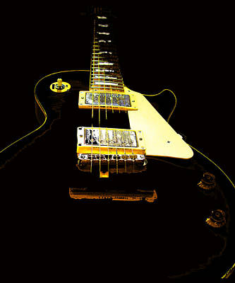 Black Guitar With Gold Accents Poster