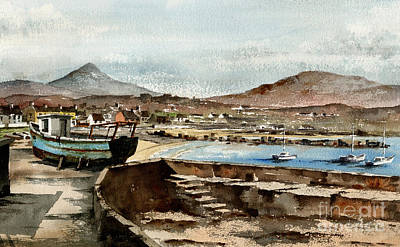 Poster featuring the painting Blue Boat At Greystones Harbour by Val Byrne