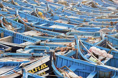 Blue Boats In Morocco Poster