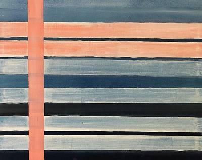 Blue Peachy Stripes Poster