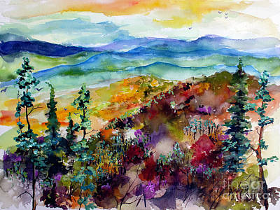 Poster featuring the painting Blue Ridge Mountains Autumn Impressions by Ginette Callaway