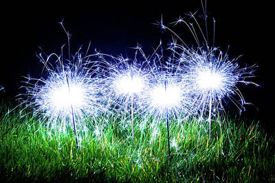 Poster featuring the photograph Blue Sparklers In The Grass by Scott Lyons