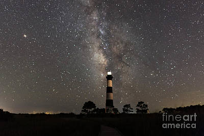 Poster featuring the photograph Bodie Island Lighthouse Starring The Milky Way by Terry Rowe