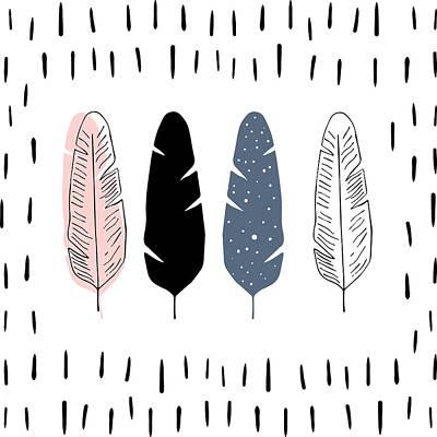 Boho Feathers - Boho Chic Ethnic Nursery Art Poster Print Poster