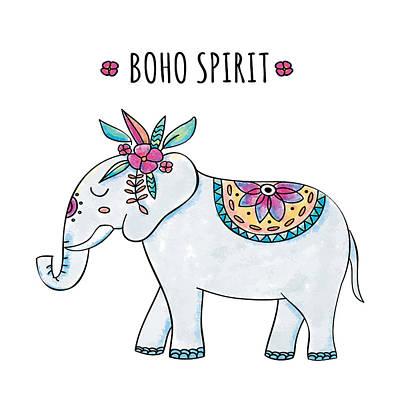 Boho Spirit Elephant - Boho Chic Ethnic Nursery Art Poster Print Poster