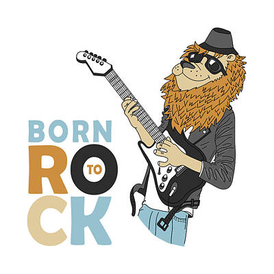 Born To Rock - Baby Room Nursery Art Poster Print Poster