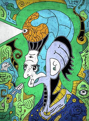 Poster featuring the digital art Brain-man by Sotuland Art