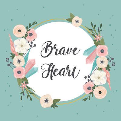 Brave Heart - Boho Chic Ethnic Nursery Art Poster Print Poster