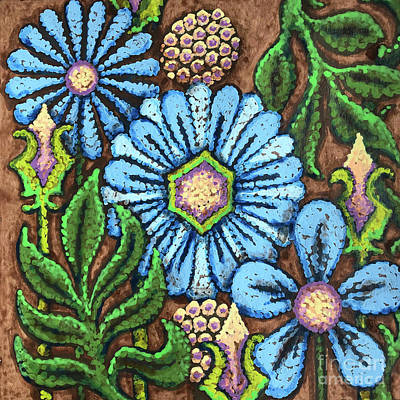 Brown And Blue Floral 1 Poster