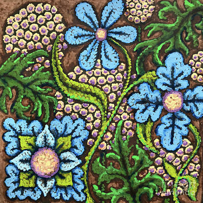 Brown And Blue Floral 2 Poster