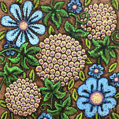 Brown And Blue Floral 3 Poster