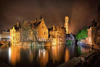Brugge Belgium Belfry Night Poster