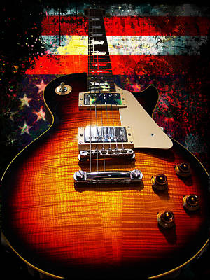 Burst Guitar American Flag Background Poster