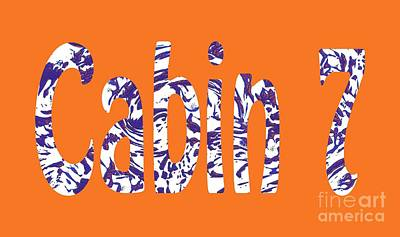 Cabin 7 Blue White Orange Poster