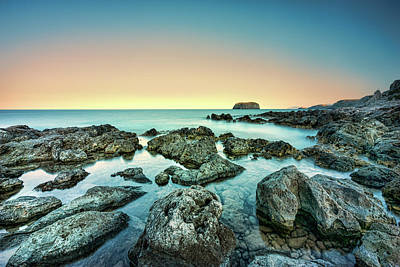 Calm Rocky Coast In Greece Poster