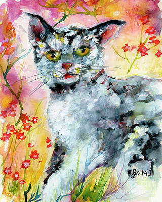 Poster featuring the painting Cat Portrait My Name Is Hobo by Ginette Callaway