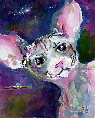 Poster featuring the painting Cat Portrait My Name Is Luna by Ginette Callaway